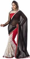Khushali Self Design, Embroidered Fashion Net, Georgette Saree(Black, White, Red)