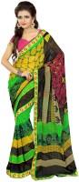 Patankar Fab Printed Bollywood Synthetic Chiffon Saree(Black, Green)