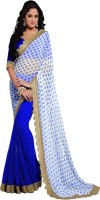 Rozdeal Printed Fashion Georgette Saree(Blue, Beige)