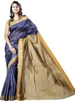 Vastrakala Solid Banarasi Cotton, Silk Saree(Grey)