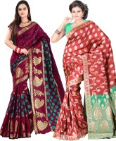 Indi Wardrobe Woven Banarasi Handloom Banarasi Silk Saree(Pack of 2, Maroon, Red)