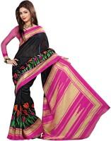 Jiya Self Design, Printed Fashion Poly Silk Saree(Black, Pink)
