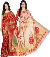 Weavedeal Embellished Kanjivaram Silk Cotton Blend Saree(Pack of 2, Red, Beige)
