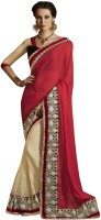 Desi Butik Self Design Fashion Chiffon Saree(Multicolor)