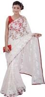Inblue Fashions Solid Fashion Brasso Saree(White)