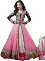 Shreeji Fashion Georgette Self Design, Embroidered Semi-stitched Salwar Suit Dupatta Material