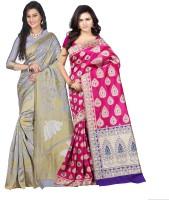 Weavedeal Embellished Kanjivaram Silk Cotton Blend Saree(Pack of 2, Grey, Pink)