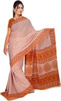 Khoobee Printed Fashion Poly Georgette Saree(Multicolor, Orange)