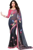 Vastrani Embroidered Fashion Georgette Saree(Black, Grey)