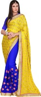 Khoobee Self Design, Embroidered, Embellished Fashion Chiffon Saree(Blue, Yellow)