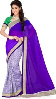 Saree Swarg Solid, Printed Bollywood Art Silk, Chiffon Saree(White, Purple)