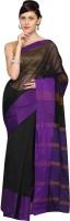 Pavechas Solid Banarasi Cotton, Silk Saree(Black)