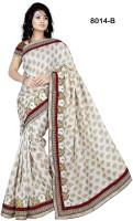 Welcome Fashion Geometric Print Fashion Jacquard Saree(White, Red)