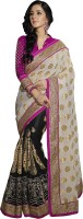 Khoobee Self Design, Embellished, Embroidered Fashion Net Saree(White, Black)