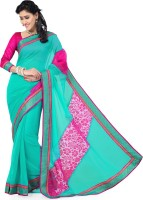 Saree Swarg Solid Bollywood Chiffon, Tissue Saree(Blue, Pink)