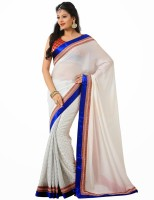 Rajshri Fashions Self Design Bollywood Chiffon Saree(White, Blue)