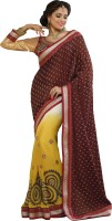 Melluha Embroidered Bollywood Jacquard Saree(Brown)