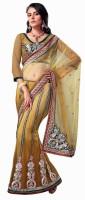 Aagaman Fashion Self Design Lehenga Saree Net Saree(Beige)