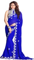 Sourbh Sarees Self Design, Solid, Printed Fashion Georgette Saree(Blue)