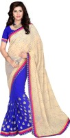 Khoobee Self Design, Embroidered, Embellished Fashion Cotton Blend, Chiffon Saree(Blue, Beige)