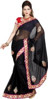 De Marca Embroidered Fashion Chiffon Saree(Black)