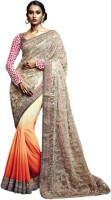 Vishal Solid Fashion Georgette Saree(Orange)