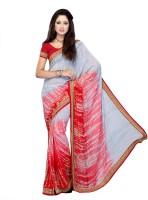 Suvastram Printed Fashion Poly Georgette Saree(Red, White)