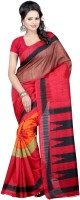 Indrani Solid, Printed Bollywood Georgette Saree(Brown, Red)