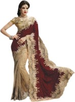 Triveni Self Design Fashion Velvet, Net Saree(Brown)