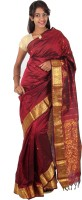 Thara Sarees Self Design Kanjivaram Art Silk Saree(Brown)