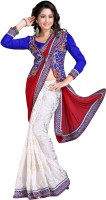 Jiya Self Design, Embroidered Fashion Cotton Blend, Poly Georgette Saree(Red, White)