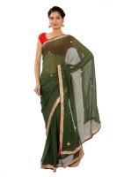 Shri Narayan Fashions Solid Fashion Georgette Saree(Green)