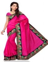 Meghdoot Solid Fashion Poly Silk Saree(Pink)