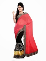Dancing Girl Embroidered Bollywood Georgette Saree(Multicolor)