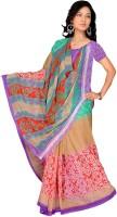 Jiya Self Design, Printed Fashion Chiffon Saree(Multicolor, Red)