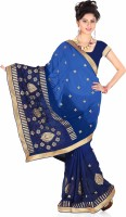 Khoobee Embroidered Fashion Poly Georgette Saree(Blue)