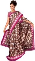 Khoobee Self Design, Printed Fashion Poly Silk Saree(Brown, Pink)