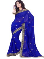 Sourbh Sarees Self Design Fashion Synthetic Georgette Saree(Blue)