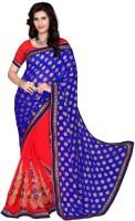 Jiya Self Design, Embroidered, Embellished Fashion Cotton Blend, Chiffon Saree(Red, Blue)