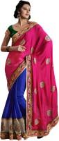 We Desi Self Design Fashion Georgette Saree(Pink, Blue)