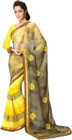 Vibes Embroidered Fashion Synthetic Georgette Saree(Yellow)