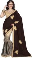 Ishin Embroidered Fashion Chiffon Saree(Brown)
