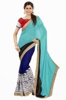Khushali Self Design, Embroidered Fashion Georgette Saree(Multicolor)