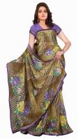 Jiya Self Design, Printed Fashion Poly Georgette Saree(Multicolor, Purple, Brown)