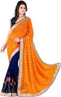 Khoobee Embroidered Fashion Poly Georgette Saree(Dark Blue, Orange)