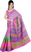 Jiya Self Design Bhagalpuri Art Silk Saree(Pink)