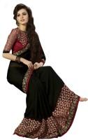 Saara Embellished Fashion Chiffon Saree(Black, Maroon)