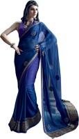 Valeska Printed Fashion Chiffon Saree(Blue)