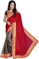 Khoobee Self Design, Embroidered Fashion Satin Blend, Poly Georgette Saree(Red, Grey)