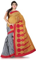 Weavedeal Embellished, Embroidered Bollywood Cotton, Chanderi Saree(Mustard)